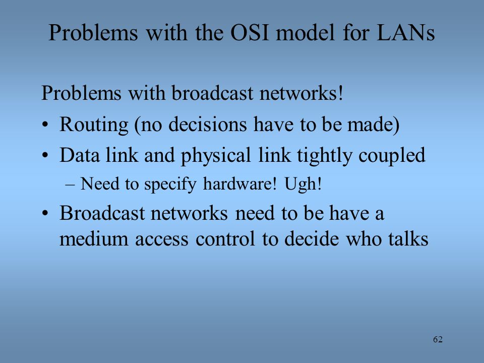 62 Problems with the OSI model for LANs Problems with broadcast networks! Routing (no decisions have to be made) Data link and physical link tightly c