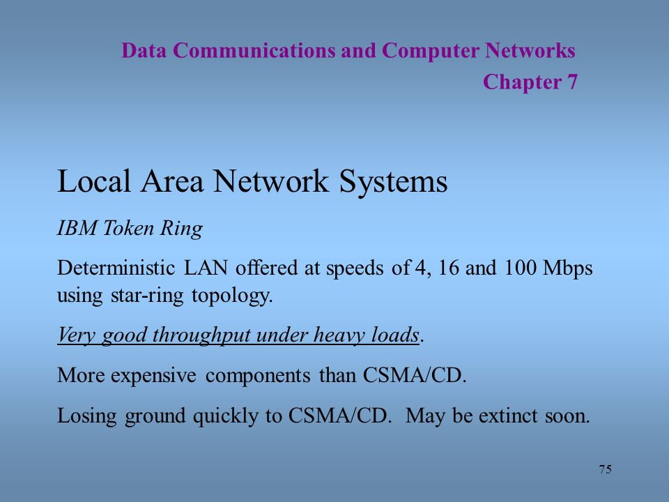 75 Data Communications and Computer Networks Chapter 7 Local Area Network Systems IBM Token Ring Deterministic LAN offered at speeds of 4, 16 and 100