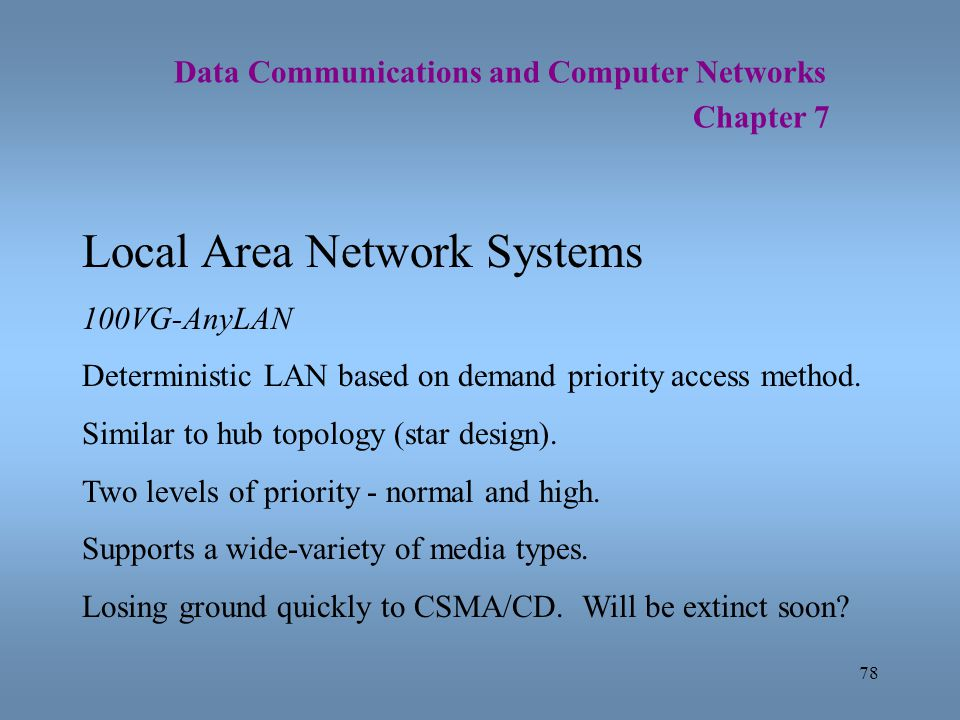 78 Data Communications and Computer Networks Chapter 7 Local Area Network Systems 100VG-AnyLAN Deterministic LAN based on demand priority access metho