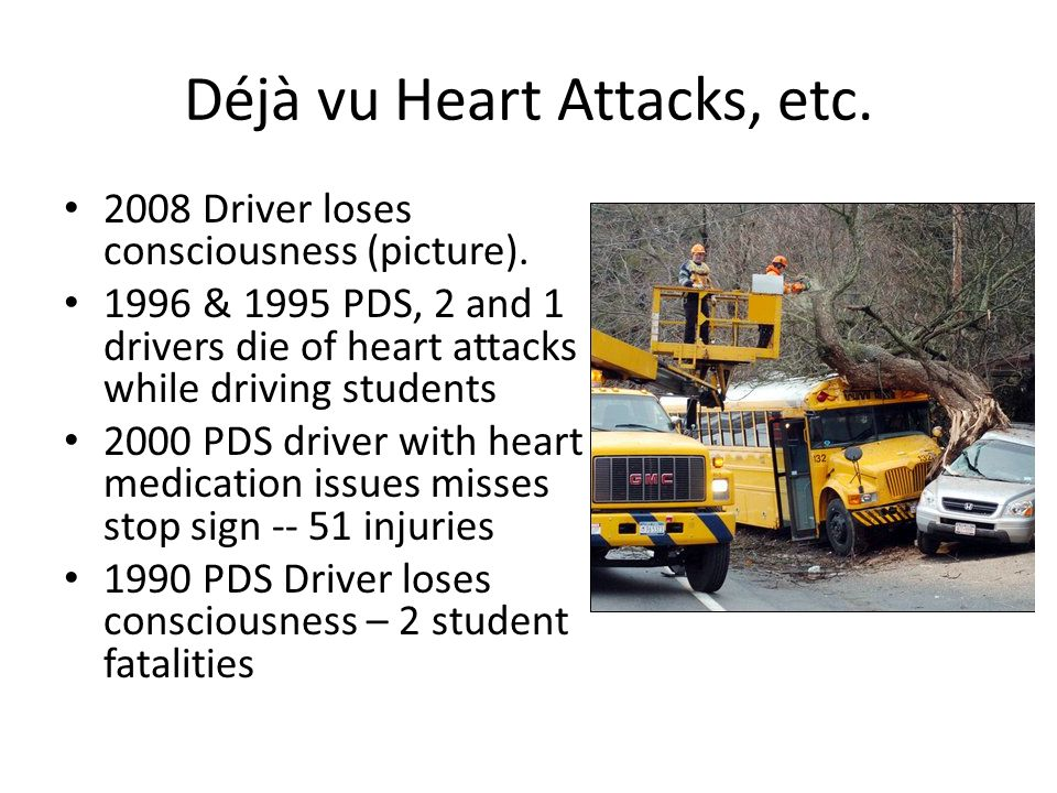 Déjà vu Heart Attacks, etc. 2008 Driver loses consciousness (picture).