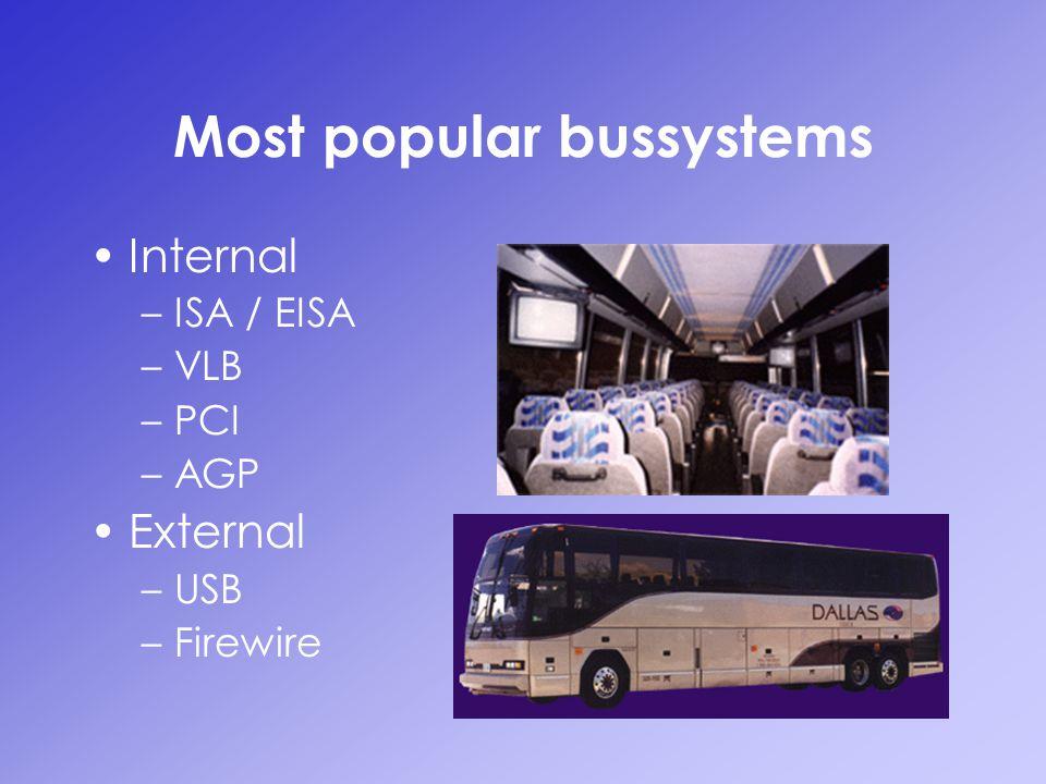 Most popular bussystems Internal –ISA / EISA –VLB –PCI –AGP External –USB –Firewire