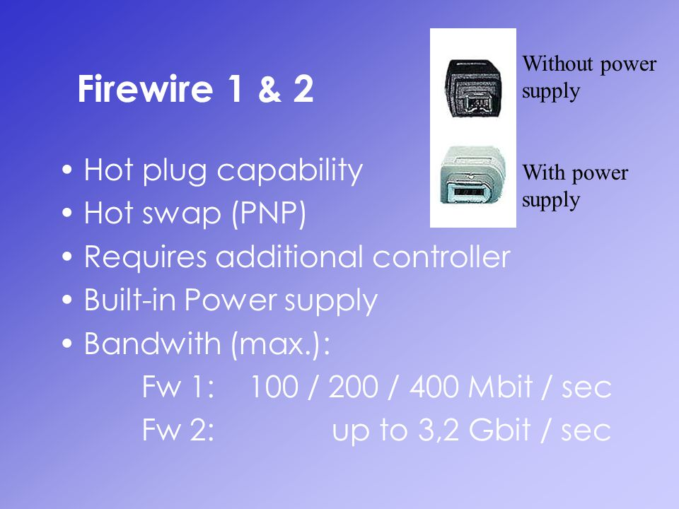 Firewire 1 & 2 Hot plug capability Hot swap (PNP) Requires additional controller Built-in Power supply Bandwith (max.): Fw 1: 100 / 200 / 400 Mbit / s