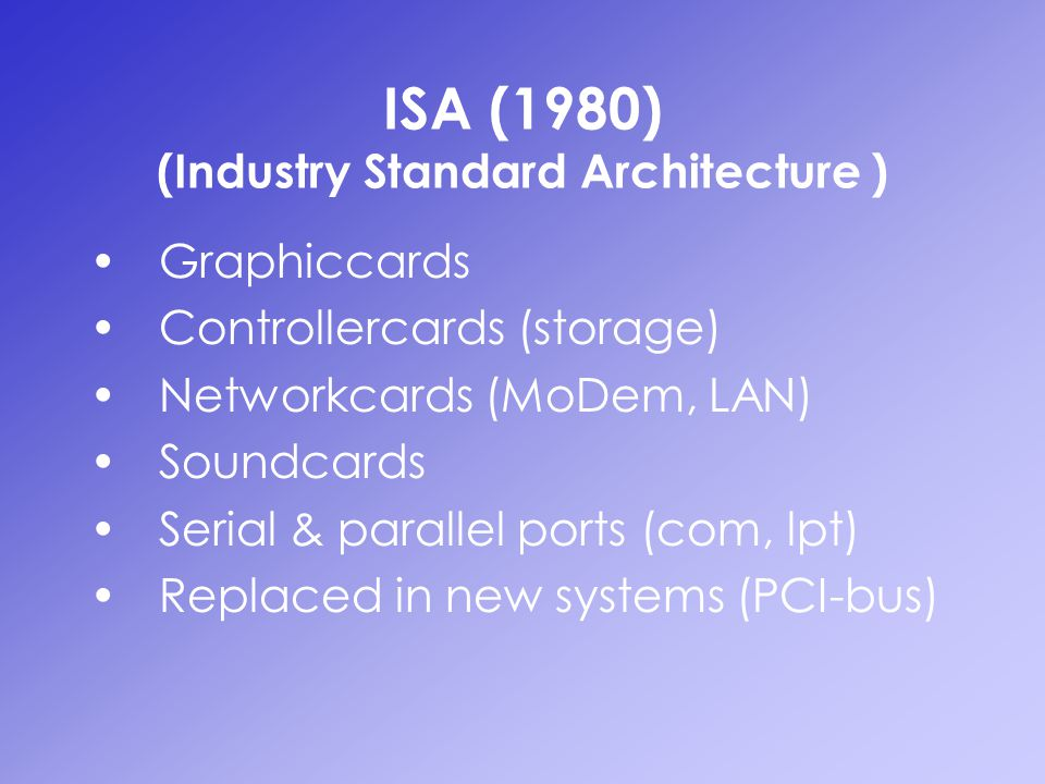 ISA (1980) (Industry Standard Architecture ) Graphiccards Controllercards (storage) Networkcards (MoDem, LAN) Soundcards Serial & parallel ports (com,