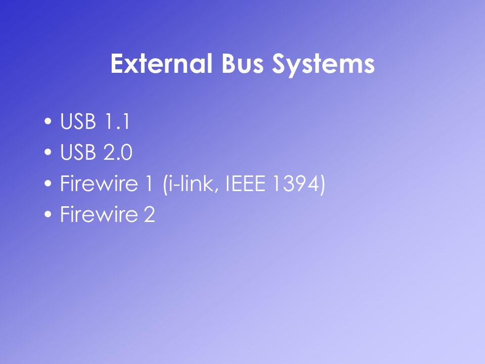 External Bus Systems USB 1.1 USB 2.0 Firewire 1 (i-link, IEEE 1394) Firewire 2