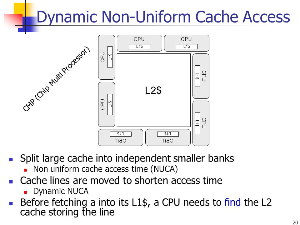 26 Dynamic Non-Uniform Cache Access Split large cache into independent smaller banks Non uniform cache access time (NUCA) Cache lines are moved to shorten access time Dynamic NUCA Before fetching a into its L1$, a CPU needs to find the L2 cache storing the line CPU L1$ L2$ CPU L1$ CPU L1$ CPU L1$ CPU L1$ CPU L1$ CPU L1$ CPU L1$ L2$ CMP (Chip Multi Processor)