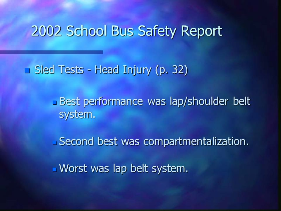 2002 School Bus Safety Report n Sled Tests - Head Injury (p. 32) n Best performance was lap/shoulder belt system. n Second best was compartmentalizati