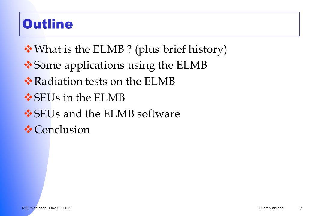 H.Boterenbrood R2E Workshop, June 2-3 2009 2 Outline What is the ELMB .