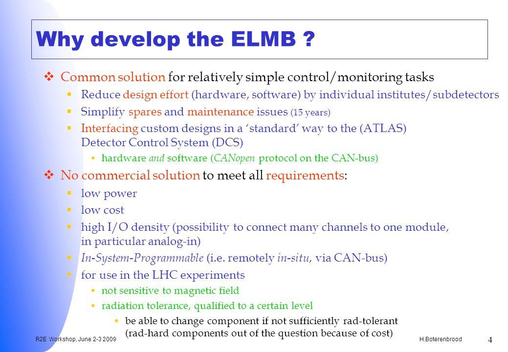 H.Boterenbrood R2E Workshop, June 2-3 2009 4 Why develop the ELMB .