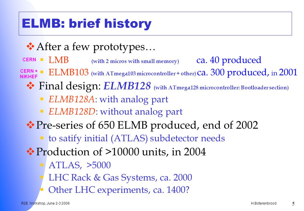 H.Boterenbrood R2E Workshop, June 2-3 2009 5 ELMB: brief history After a few prototypes… LMB (with 2 micros with small memory) ca.
