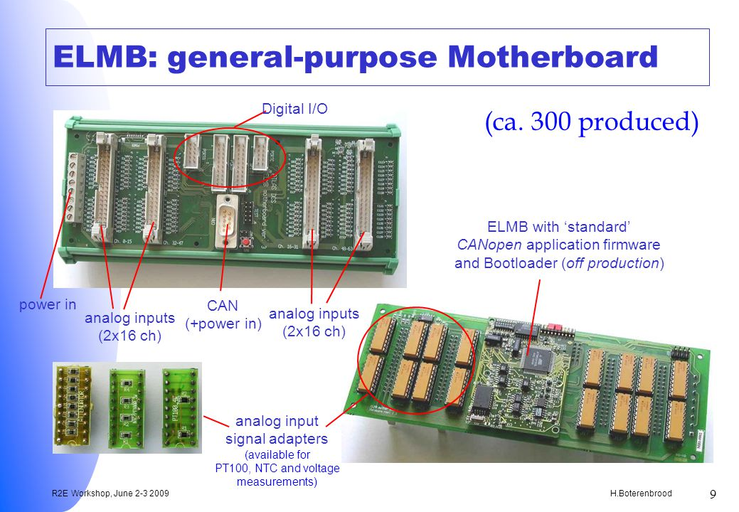 H.Boterenbrood R2E Workshop, June 2-3 2009 9 ELMB: general-purpose Motherboard ELMB with standard CANopen application firmware and Bootloader (off production) analog input signal adapters (available for PT100, NTC and voltage measurements) CAN (+power in) Digital I/O analog inputs (2x16 ch) analog inputs (2x16 ch) (ca.