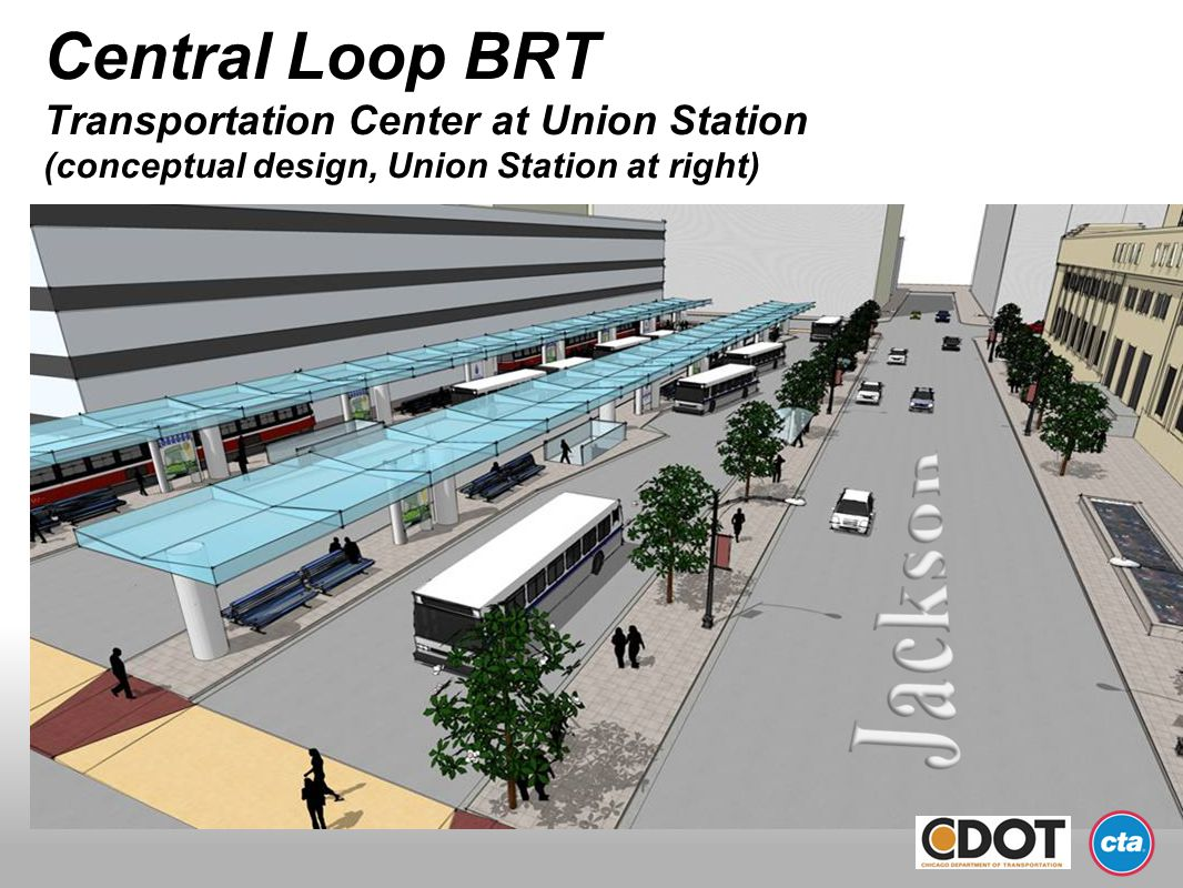 Central Loop BRT Transportation Center at Union Station (conceptual design, Union Station at right)