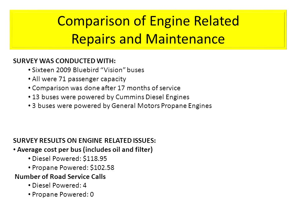 Comparison of Engine Related Repairs and Maintenance SURVEY WAS CONDUCTED WITH: Sixteen 2009 Bluebird Vision buses All were 71 passenger capacity Comp