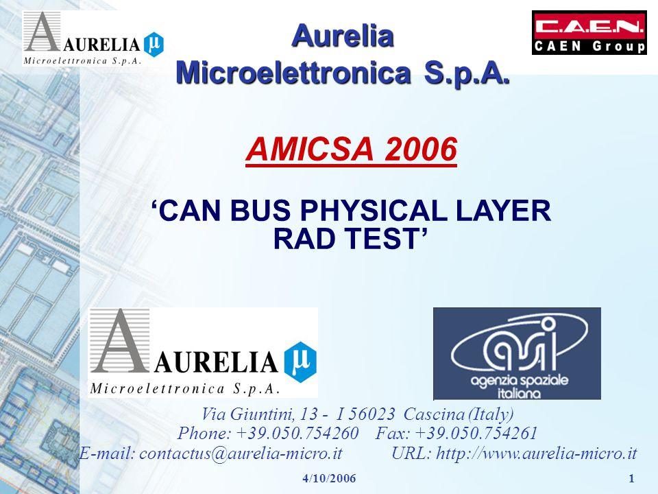 4/10/20061 Aurelia Microelettronica S.p.A. Via Giuntini, 13 - I 56023 Cascina (Italy) Phone: +39.050.754260 Fax: +39.050.754261 E-mail: contactus@aure