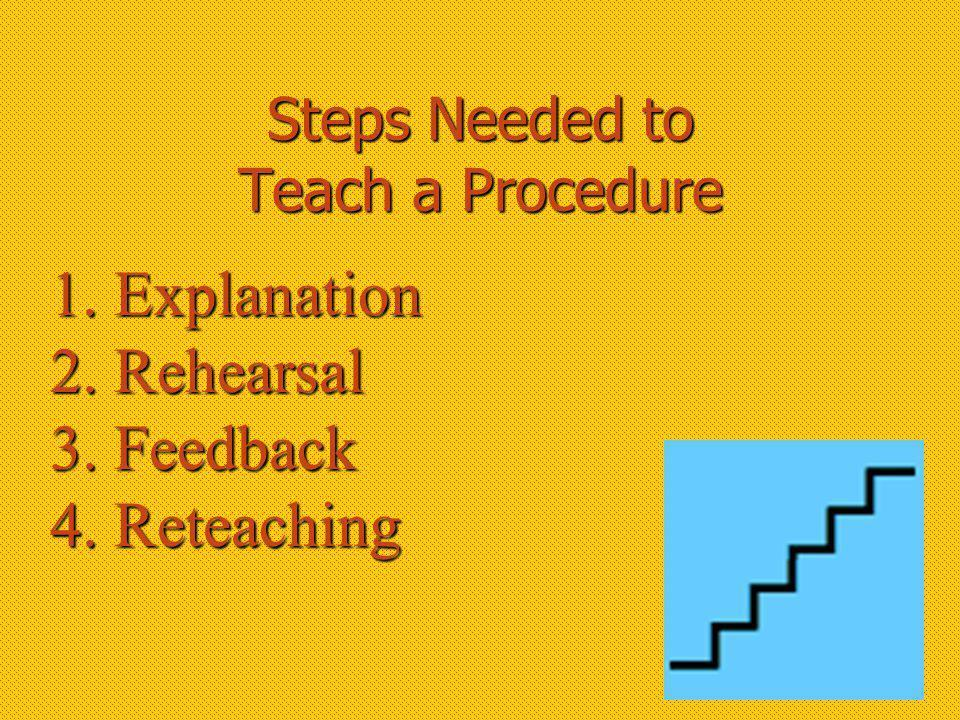 Steps Needed to Teach a Procedure 1. Explanation 2. Rehearsal 3. Feedback 4. Reteaching