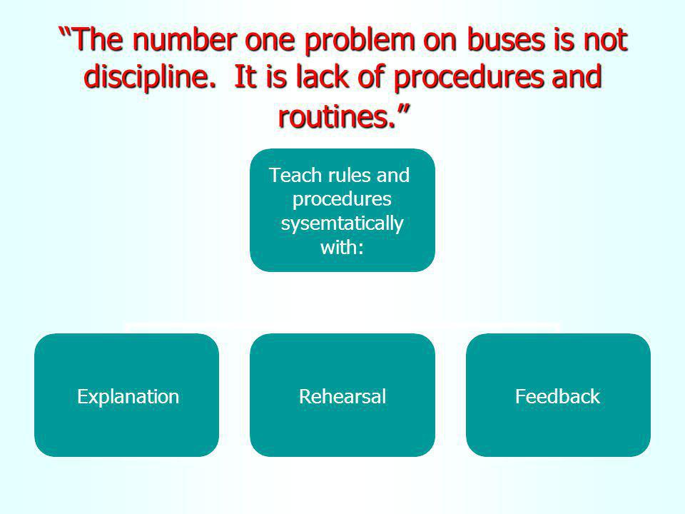 The number one problem on buses is not discipline. It is lack of procedures and routines. Teach rules and procedures sysemtatically with: ExplanationR