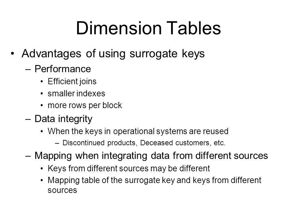Dimension Tables Advantages of using surrogate keys –Performance Efficient joins smaller indexes more rows per block –Data integrity When the keys in