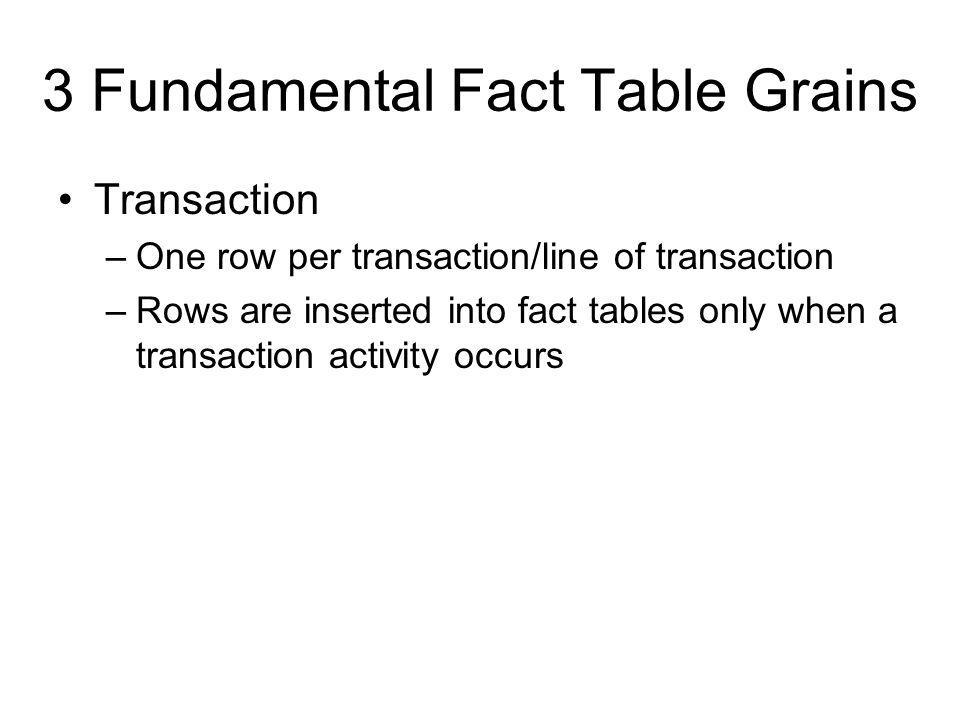 3 Fundamental Fact Table Grains Transaction –One row per transaction/line of transaction –Rows are inserted into fact tables only when a transaction a