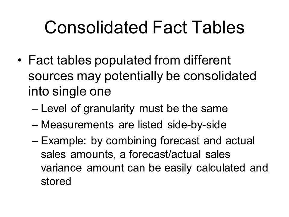 Consolidated Fact Tables Fact tables populated from different sources may potentially be consolidated into single one –Level of granularity must be th