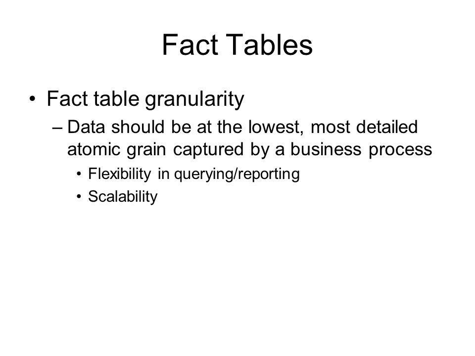 Fact Tables Fact table granularity –Data should be at the lowest, most detailed atomic grain captured by a business process Flexibility in querying/re