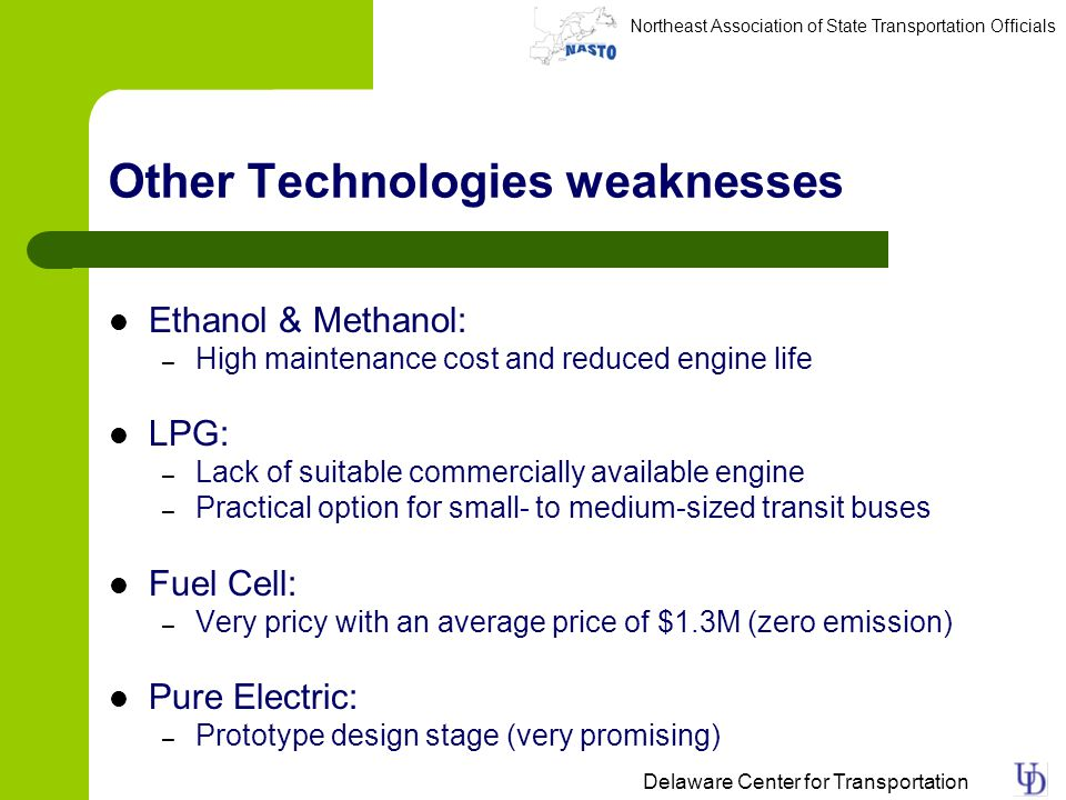 Northeast Association of State Transportation Officials Delaware Center for Transportation Other Technologies weaknesses Ethanol & Methanol: – High maintenance cost and reduced engine life LPG: – Lack of suitable commercially available engine – Practical option for small- to medium-sized transit buses Fuel Cell: – Very pricy with an average price of $1.3M (zero emission) Pure Electric: – Prototype design stage (very promising)