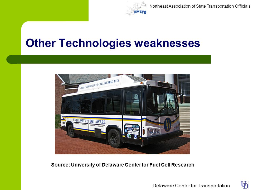 Northeast Association of State Transportation Officials Delaware Center for Transportation Other Technologies weaknesses Source: University of Delaware Center for Fuel Cell Research