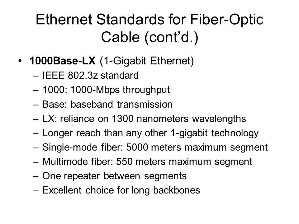 Ethernet Standards for Fiber-Optic Cable (contd.) 1000Base-LX (1-Gigabit Ethernet) –IEEE 802.3z standard –1000: 1000-Mbps throughput –Base: baseband t