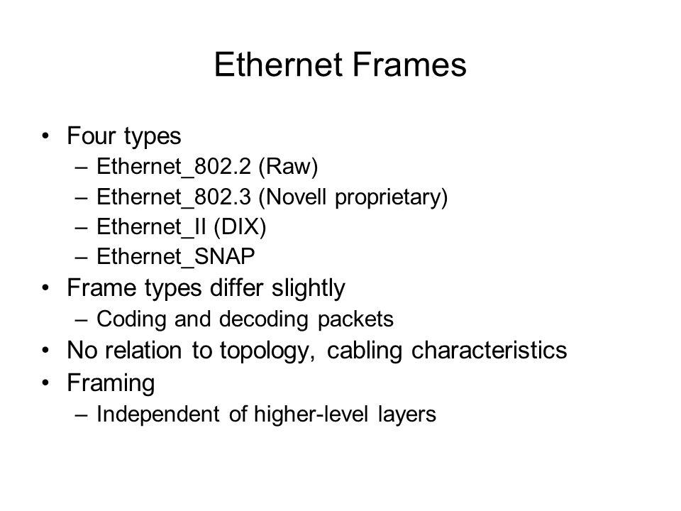 Ethernet Frames Four types –Ethernet_802.2 (Raw) –Ethernet_802.3 (Novell proprietary) –Ethernet_II (DIX) –Ethernet_SNAP Frame types differ slightly –C