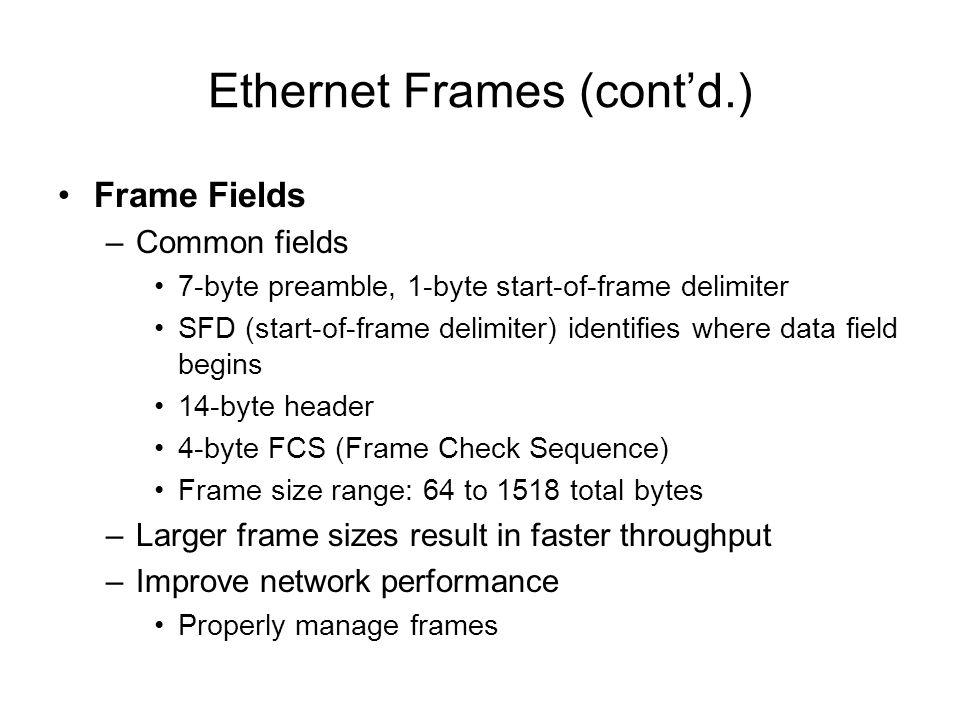 Ethernet Frames (contd.) Frame Fields –Common fields 7-byte preamble, 1-byte start-of-frame delimiter SFD (start-of-frame delimiter) identifies where