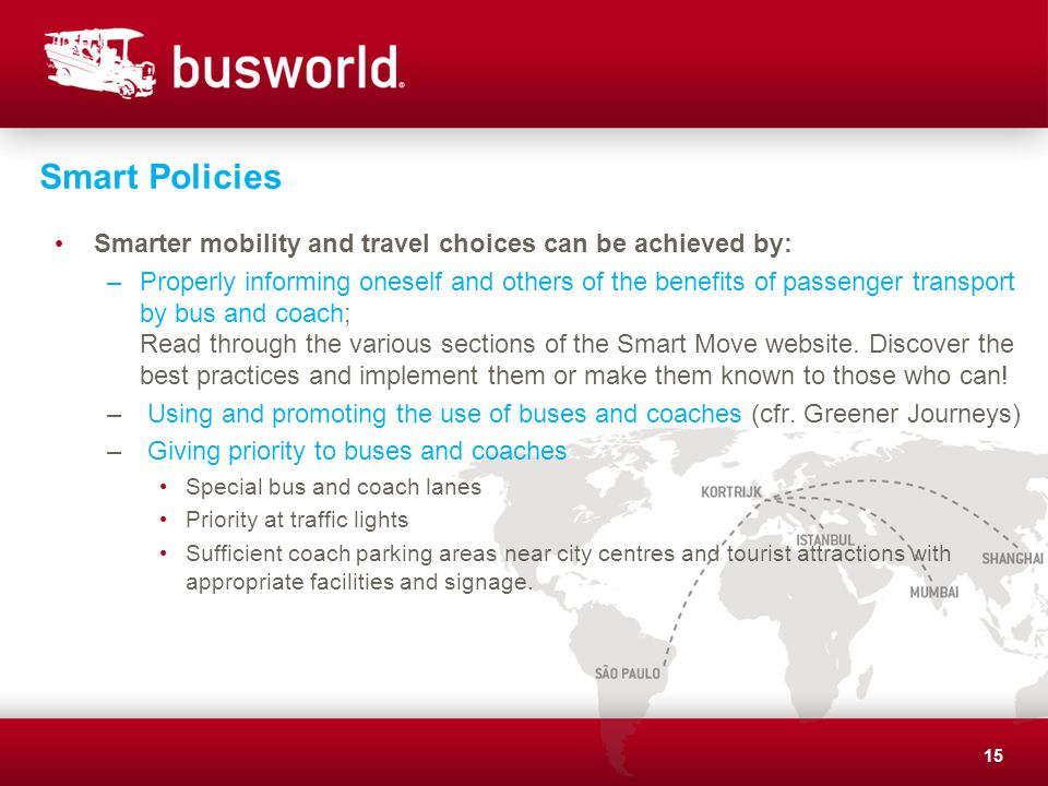Smart Policies Smarter mobility and travel choices can be achieved by: –Properly informing oneself and others of the benefits of passenger transport by bus and coach; Read through the various sections of the Smart Move website.
