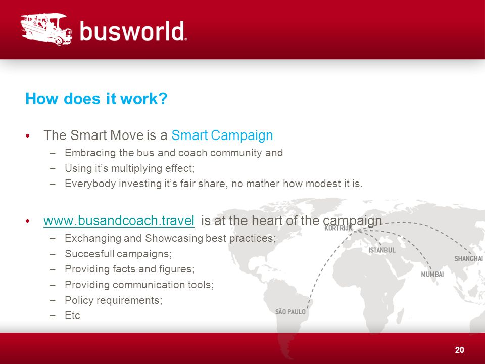 How does it work? The Smart Move is a Smart Campaign –Embracing the bus and coach community and –Using its multiplying effect; –Everybody investing it