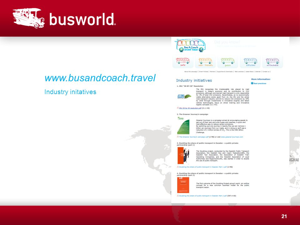 21 www.busandcoach.travel Industry initatives