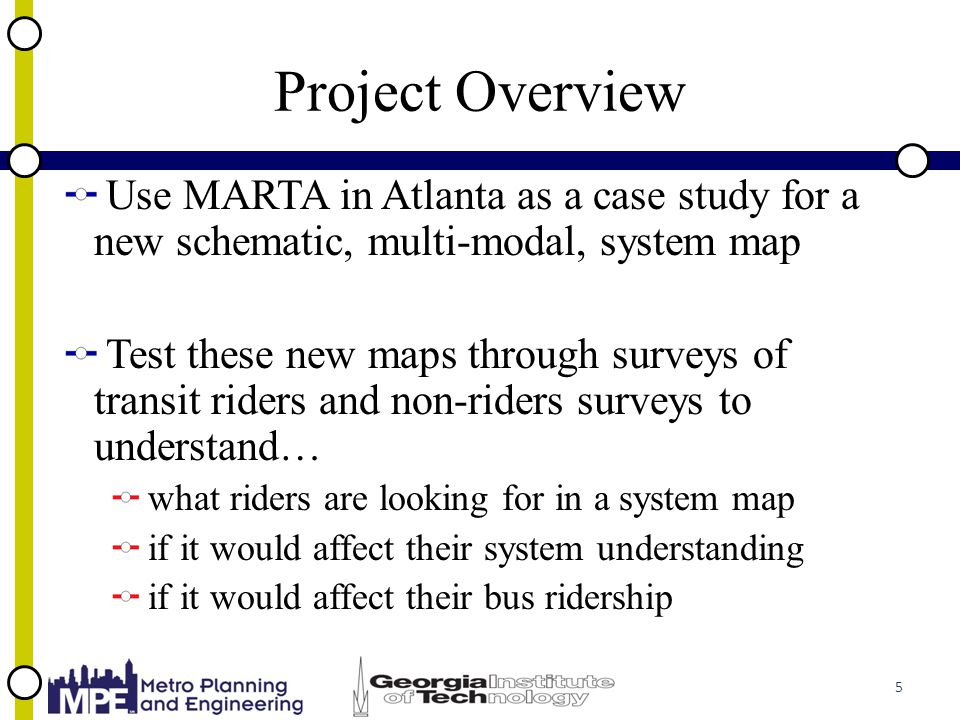 Project Overview Use MARTA in Atlanta as a case study for a new schematic, multi-modal, system map Test these new maps through surveys of transit riders and non-riders surveys to understand… what riders are looking for in a system map if it would affect their system understanding if it would affect their bus ridership 5