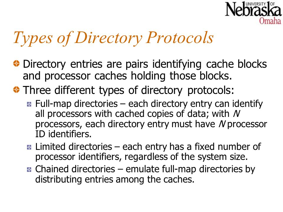 Types of Directory Protocols Directory entries are pairs identifying cache blocks and processor caches holding those blocks. Three different types of