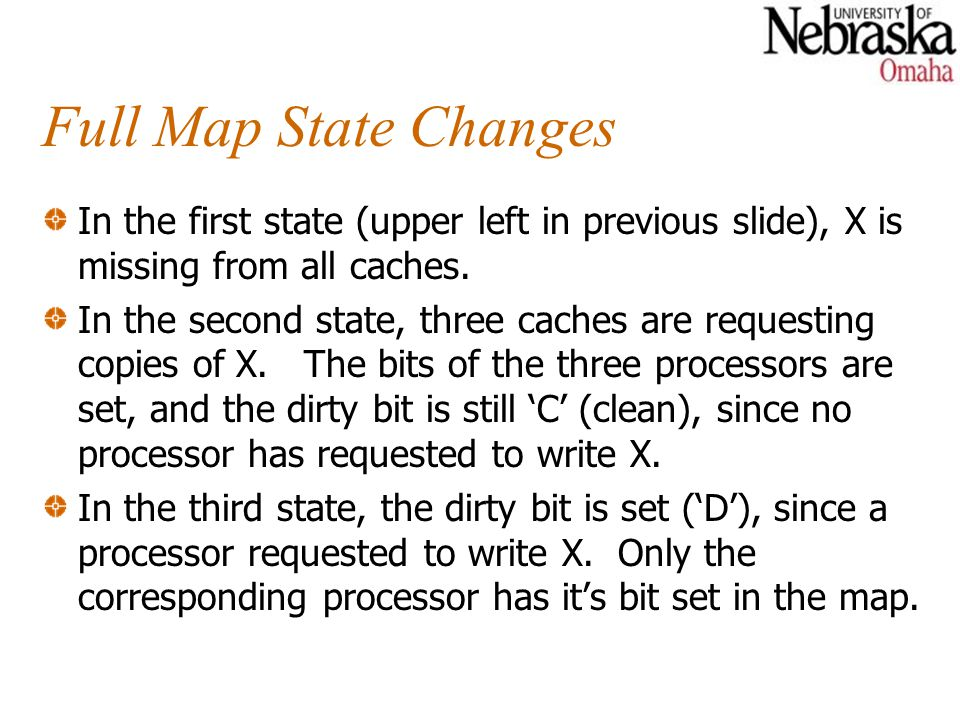 Full Map State Changes In the first state (upper left in previous slide), X is missing from all caches. In the second state, three caches are requesti