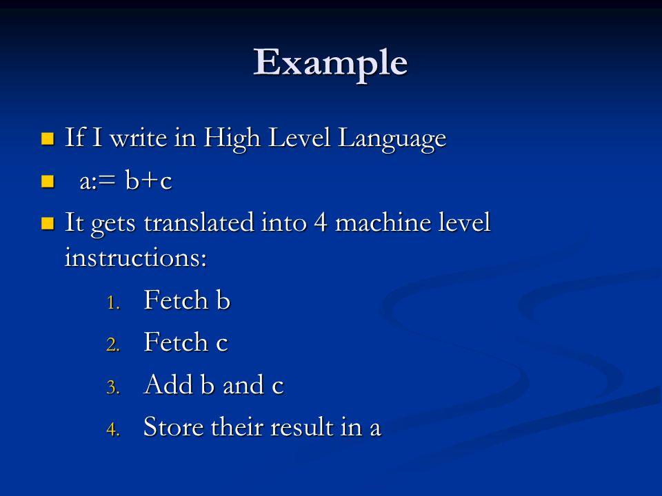 Example If I write in High Level Language If I write in High Level Language a:= b+c a:= b+c It gets translated into 4 machine level instructions: It g