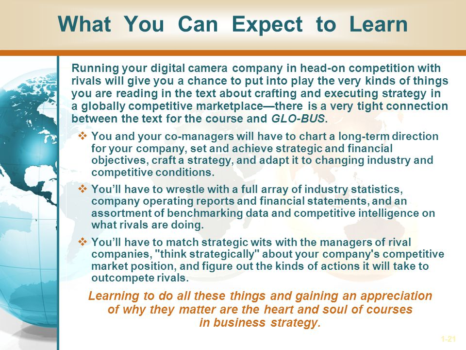 1-21 What You Can Expect to Learn Running your digital camera company in head-on competition with rivals will give you a chance to put into play the v