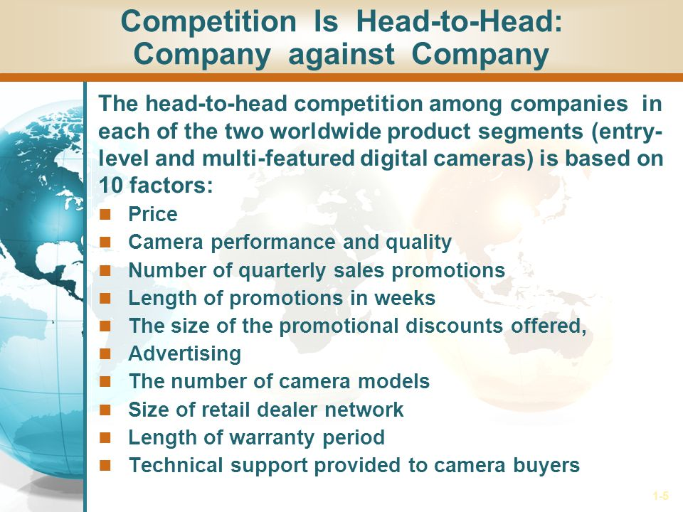 1-5 Competition Is Head-to-Head: Company against Company The head-to-head competition among companies in each of the two worldwide product segments (entry- level and multi-featured digital cameras) is based on 10 factors: Price Camera performance and quality Number of quarterly sales promotions Length of promotions in weeks The size of the promotional discounts offered, Advertising The number of camera models Size of retail dealer network Length of warranty period Technical support provided to camera buyers