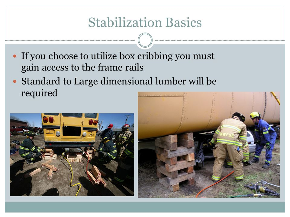 Stabilization Basics If you choose to utilize box cribbing you must gain access to the frame rails Standard to Large dimensional lumber will be requir