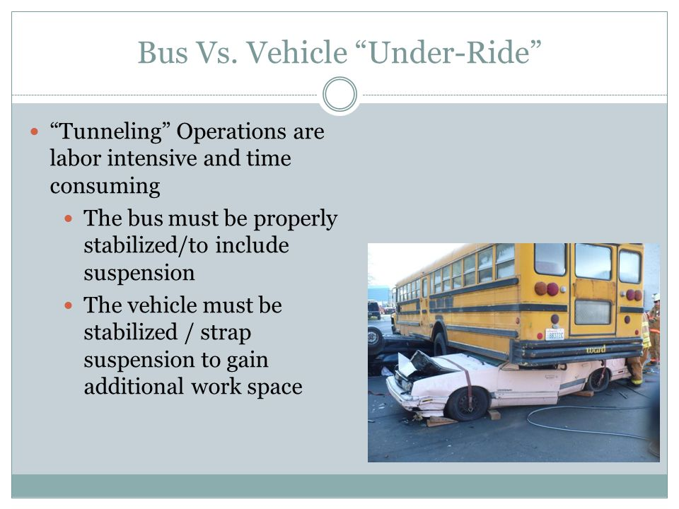 Bus Vs. Vehicle Under-Ride Tunneling Operations are labor intensive and time consuming The bus must be properly stabilized/to include suspension The v