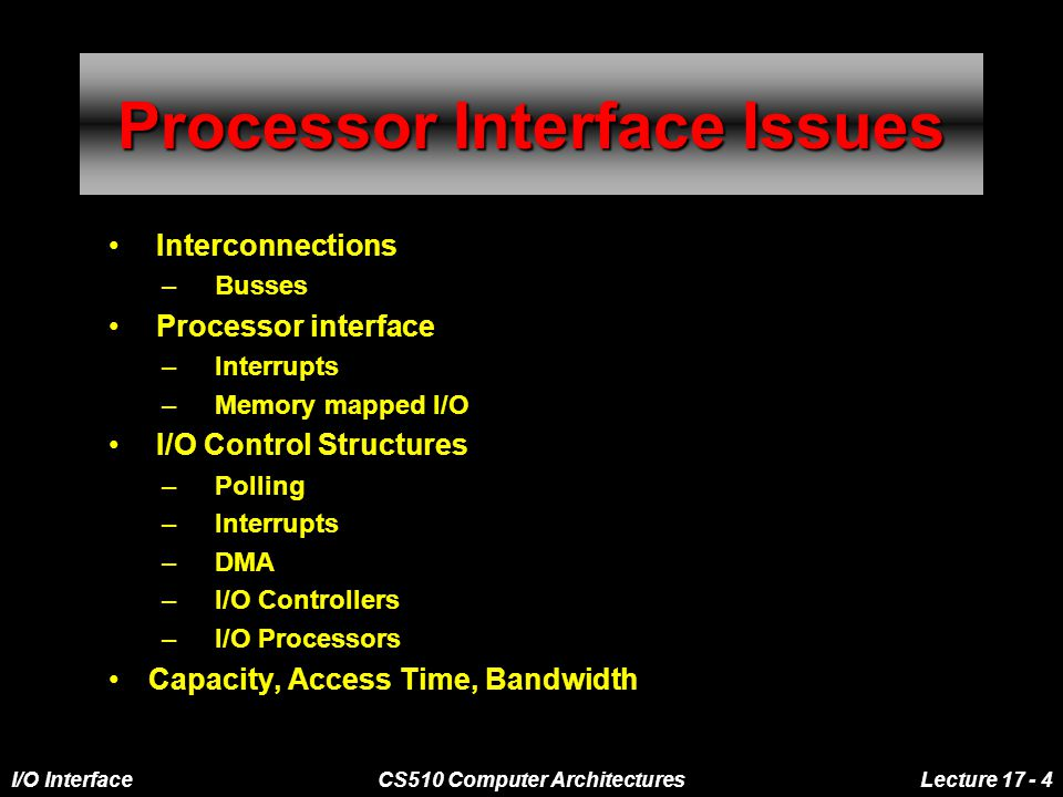 I/O InterfaceCS510 Computer ArchitecturesLecture 17 - 4 Processor Interface Issues Interconnections –Busses Processor interface –Interrupts –Memory mapped I/O I/O Control Structures –Polling –Interrupts –DMA –I/O Controllers –I/O Processors Capacity, Access Time, Bandwidth