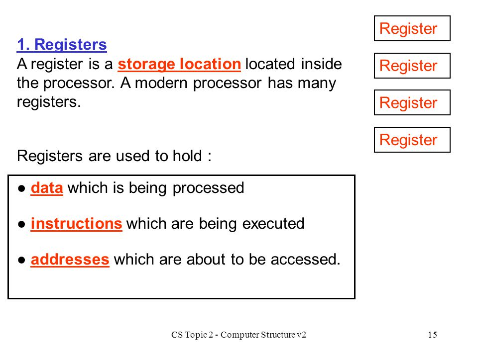 CS Topic 2 - Computer Structure v215 1. Registers A register is a storage location located inside the processor. A modern processor has many registers