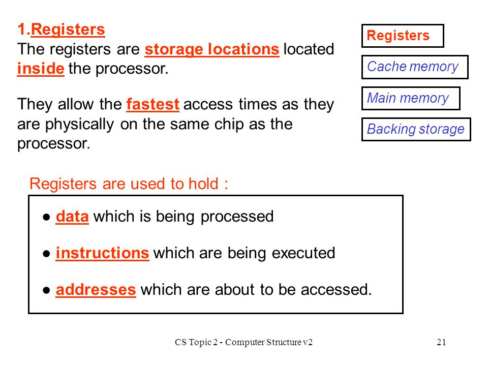 CS Topic 2 - Computer Structure v221 Registers 1.Registers The registers are storage locations located inside the processor. Registers are used to hol