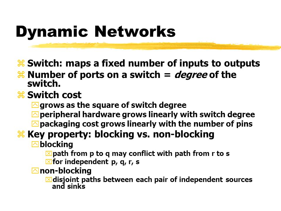 Dynamic Networks zSwitch: maps a fixed number of inputs to outputs zNumber of ports on a switch = degree of the switch.