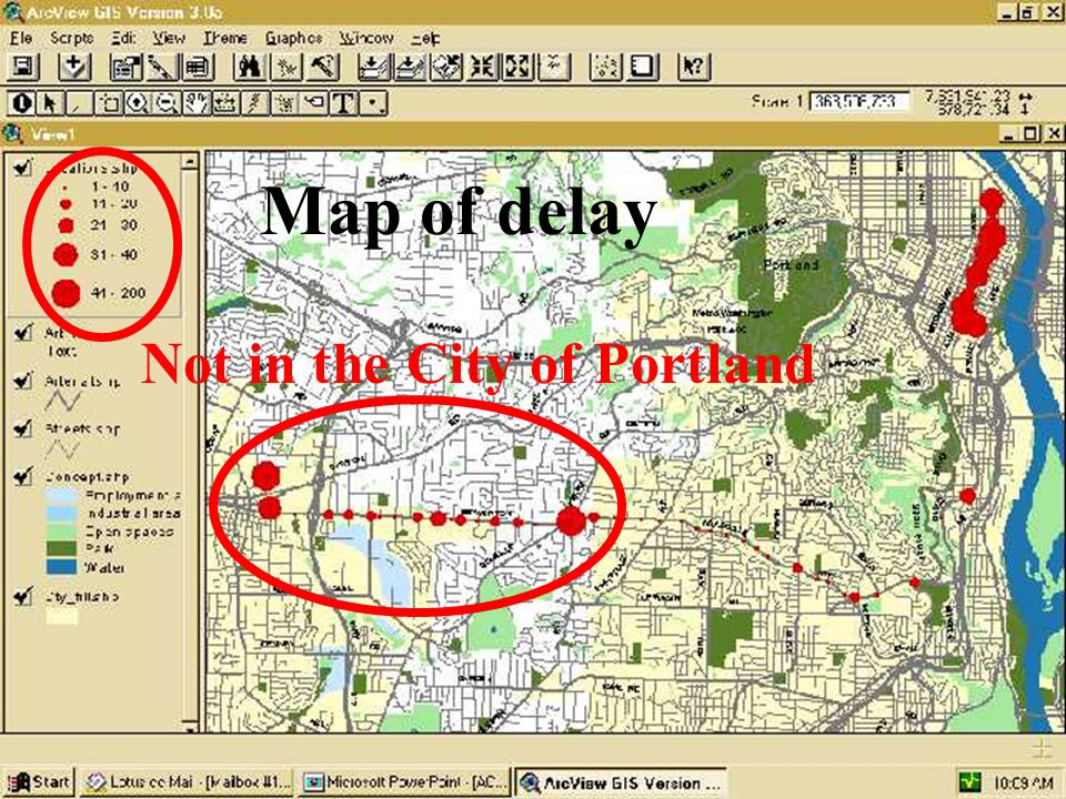 Map of delay Not in the City of Portland