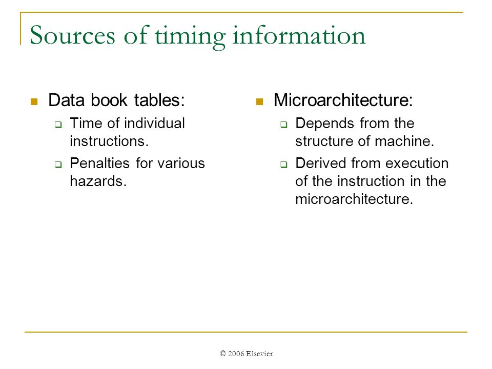 © 2006 Elsevier Sources of timing information Data book tables: Time of individual instructions.