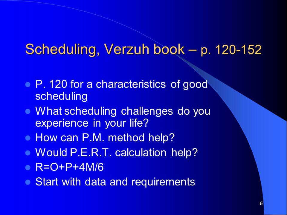 6 Scheduling, Verzuh book – p. 120-152 P.