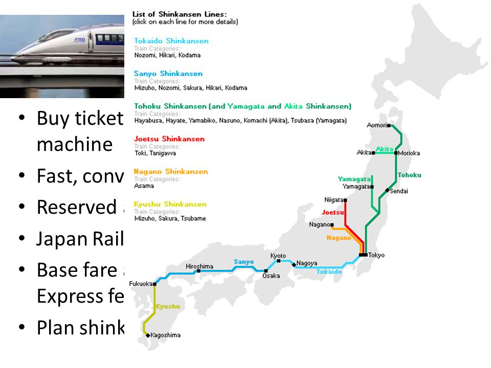 Shinkansen (Bullet Train) Buy tickets at separate gate – counter/vending machine Fast, convenient, punctual and comfortable Reserved and non-reserved seats Japan Rail Pass for visitors only Base fare and shinkansen supplement (ltd.