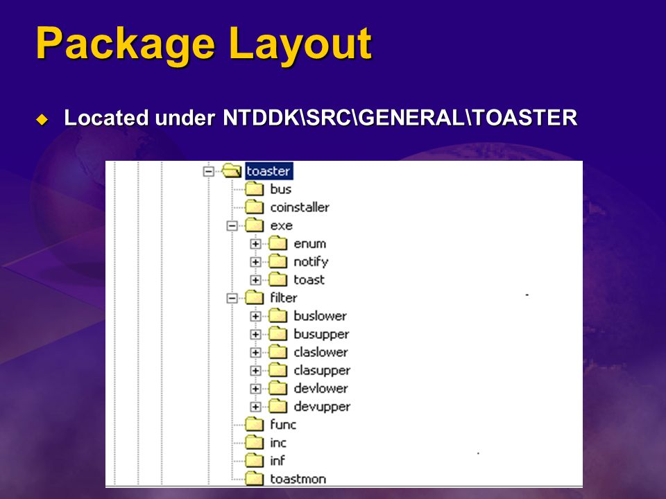 Package Layout Located under NTDDK\SRC\GENERAL\TOASTER Located under NTDDK\SRC\GENERAL\TOASTER