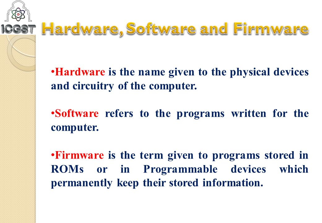 Hardware is the name given to the physical devices and circuitry of the computer. Software refers to the programs written for the computer. Firmware i