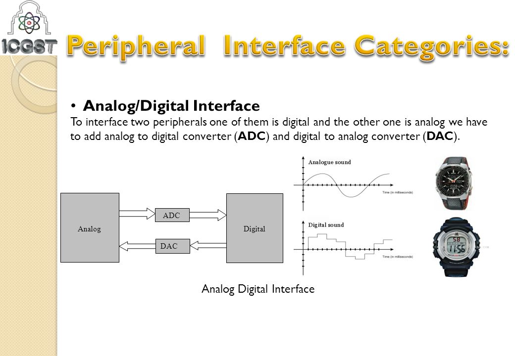 Analog/Digital Interface To interface two peripherals one of them is digital and the other one is analog we have to add analog to digital converter (A
